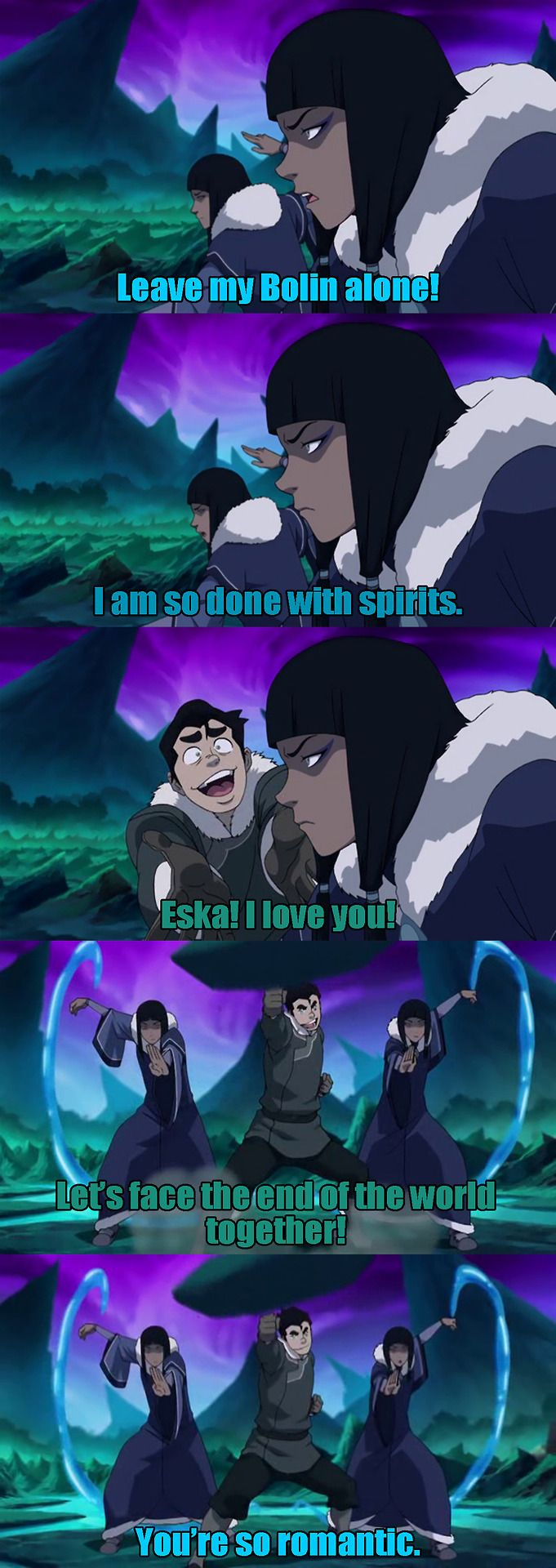 Still a better love story than Korra and Mako. <--- YES THANK YOU. anyway this was the best scene :) :) but i seriously shipped them , and the way they ended it made me sad (i hope there is more of them)