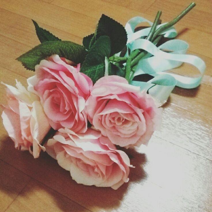 前撮り小物 薔薇 ダイソー 造花ブーケ 手作りブーケ weddingbouquet