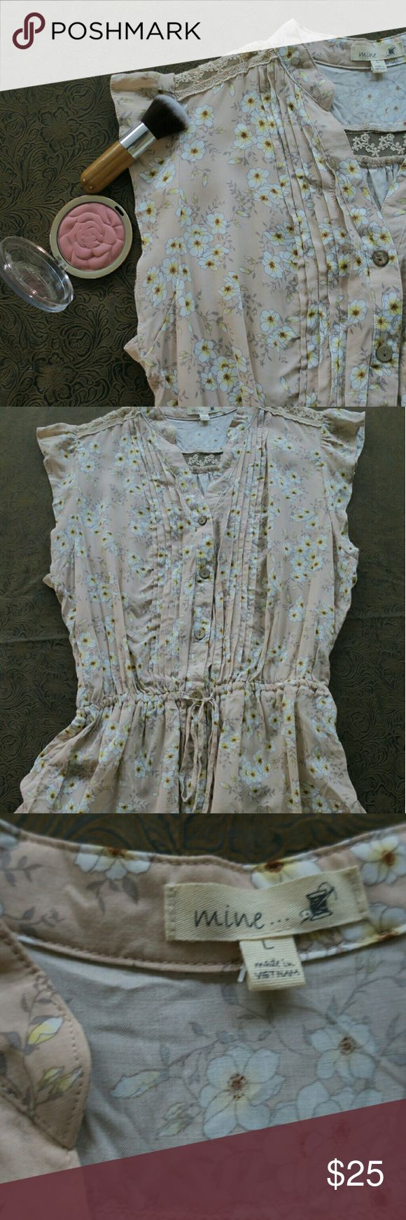 Anthropologie Blouse MINE Brand Blush Color Beautiful Floral Anthropologie MINE brand Tank Blouse. Blush color with white flowers that have pops of yellow. Extra button. NWOT . Lace accents! Anthropologie Tops