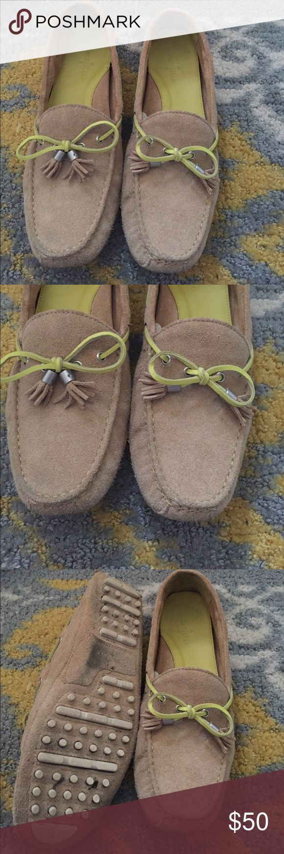 Cole Haan suede drivers Gently worn. Tan suede with neon yellow accent Cole Haan Shoes Flats & Loafers