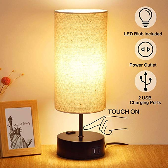 3 Way Dimmable Touch Table Lamp 2 Usb Charging Ports With Power