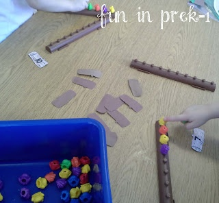 Frogs on a Log Math Game idea for number recognition
