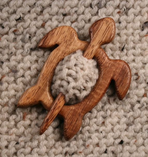 Honu Shawl Pin.  I asked Steve if he could make one for me and sent him a photo of a design.  I requested koa wood, and he had some!  He is an amazing artist!