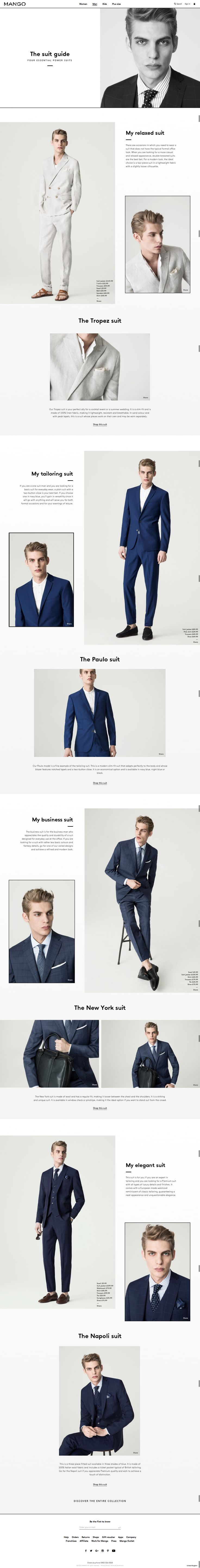 mango suit guide feature page