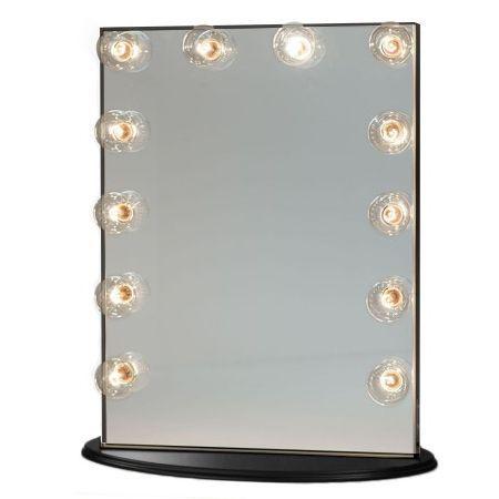 Frameless Make Up Mirror w/ 12 LED Lights in Black | Buy Health & Beauty