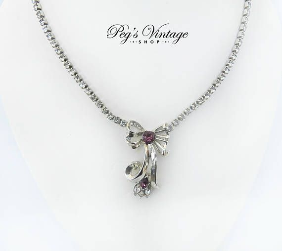 Vintage 1950s Rhodium Plated Rhinestone Bow Tie Necklace