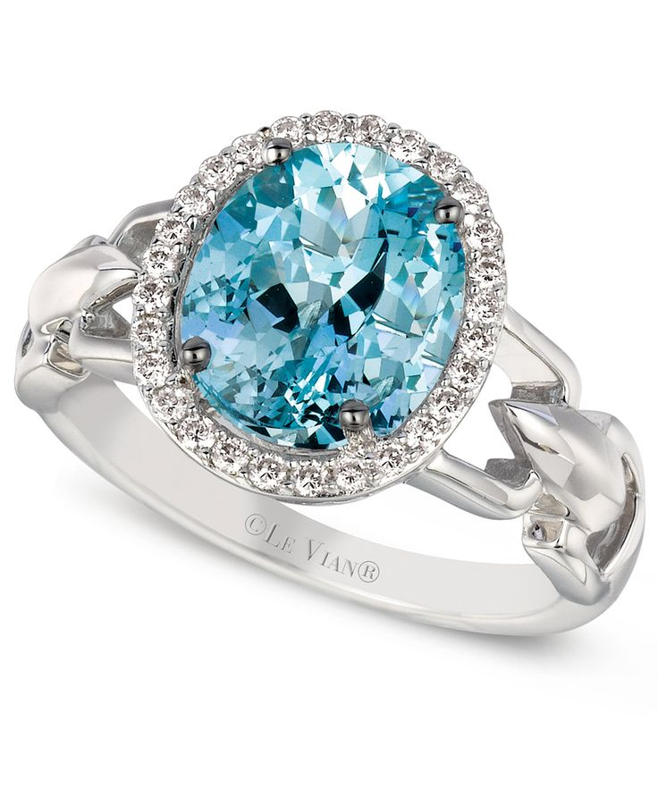 Le Vian Aquamarine (2 ct. t.w.) and Diamond (1/6 ct. t.w.) Oval Ring in 14k White Gold - Le Vian Shop - Jewelry & Watches - Macy's
