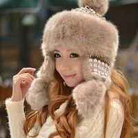 Wish | Russian Winter Hat Knitted Hat Wool Hat Women New Style Imitation Rabbit Fur Hats & Caps Cycling Cap Thick national
