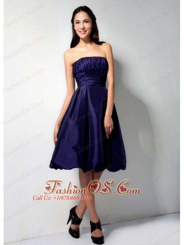 Formal Purple A-Line / Princess Strapless Bridesmaid Dress Taffeta Ruch Knee-length- $75.65http://www.fashionos.com  http://www.facebook.com/quinceaneradress.fashionos.us  Product Tags:   designs | outlet bridesmaid dresses | impressions bridesmaid dresses | bridesmaid dresses with zipper up back | ruched bridesmaid dresses | beach wedding bridesmaid dresses | bridesmaid dresses for less |