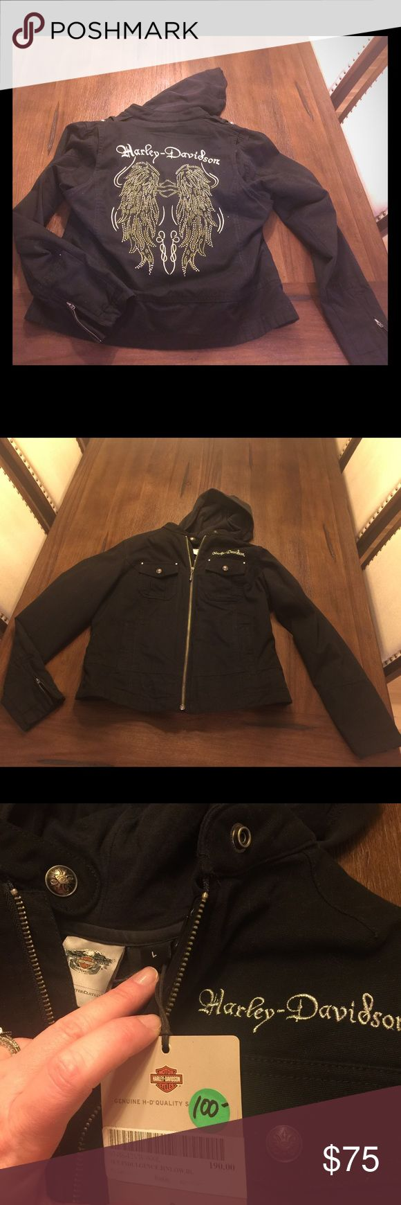 Harley Davidson jacket Women's HD twill layered jacket with cotton fleece hoodie. New with tags! Harley-Davidson Jackets & Coats Utility Jackets