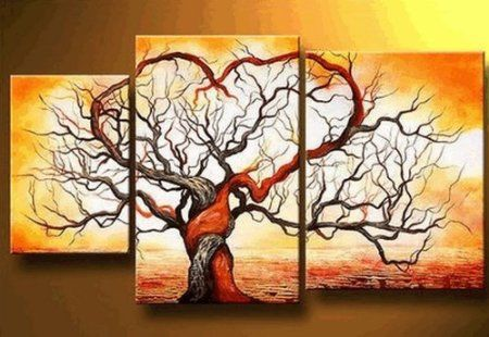 Love Tree Modern Art 100% Hand Painted Oil Painting on Canvas Wall Art Deco Home Decoration (Unstretch No Frame) Ab01