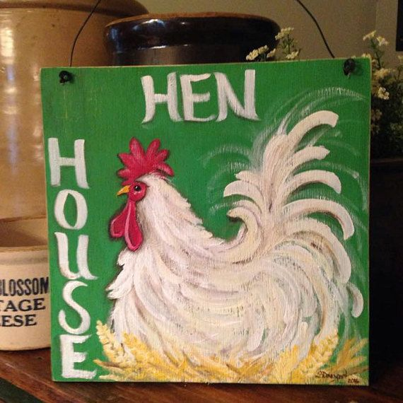 hen house sign rooster sign chicken sign by CottageDesignStudio