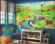 Thomas the tank engine wall  mural - fun wall decoration for the train theme bedroom, train-themed mural