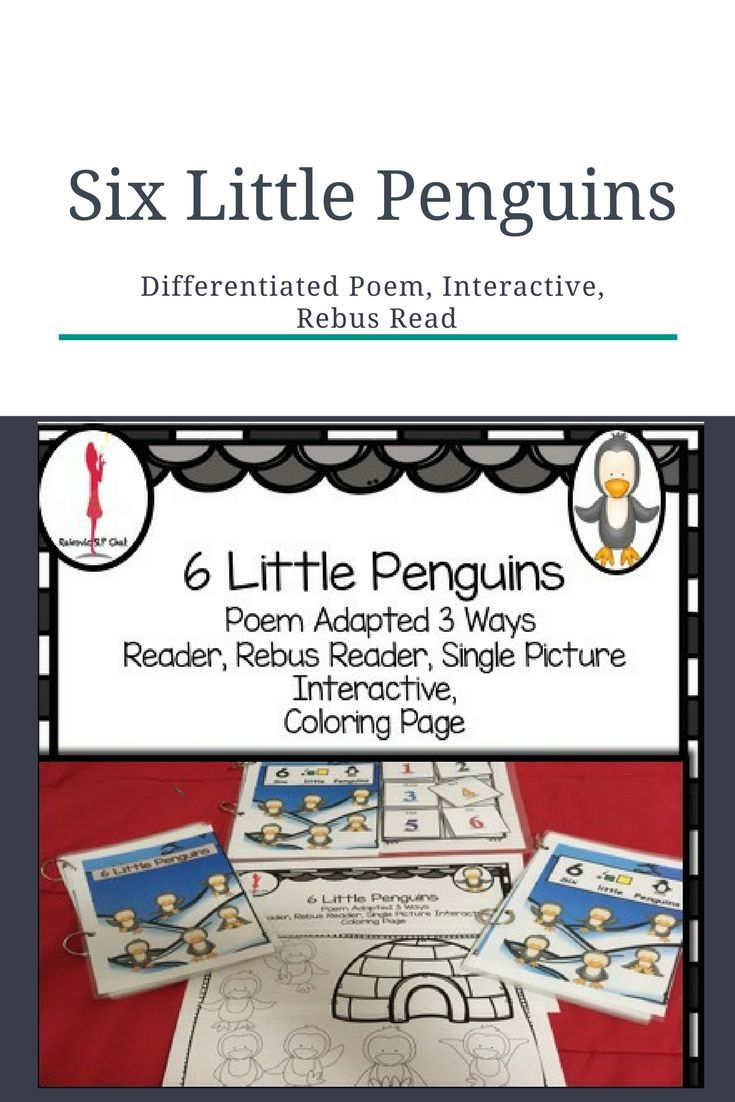 Six Little Penguins: Penguin poem for children. This is a great one for circle time or reading circle.