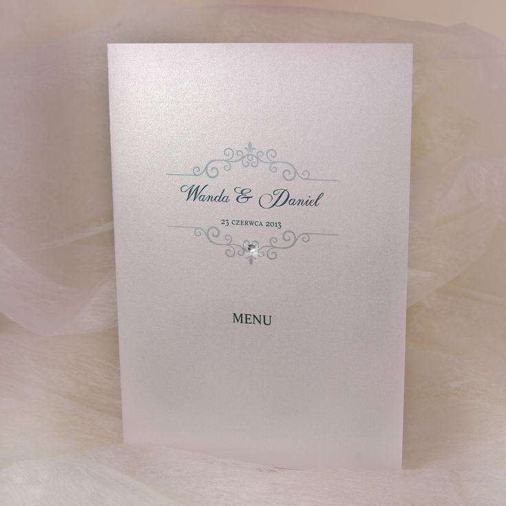 Ręcznie wykonane menu weselne z perełką.