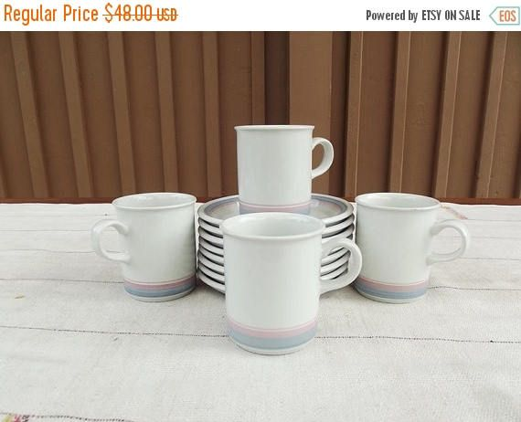 Summer sale 20% Vintage Figgjo Norway Four Cups and Eight
