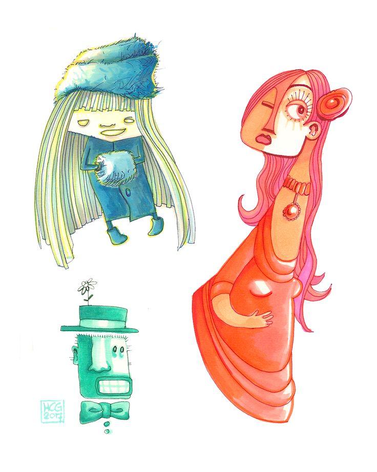 Oefenen met nieuwe markers, Doodles / Illustraties uit Dummy 14By Hilda Groenesteyn / studio Hille