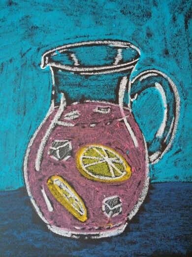 Easy Summer Art Project - Oil pastels on black paper