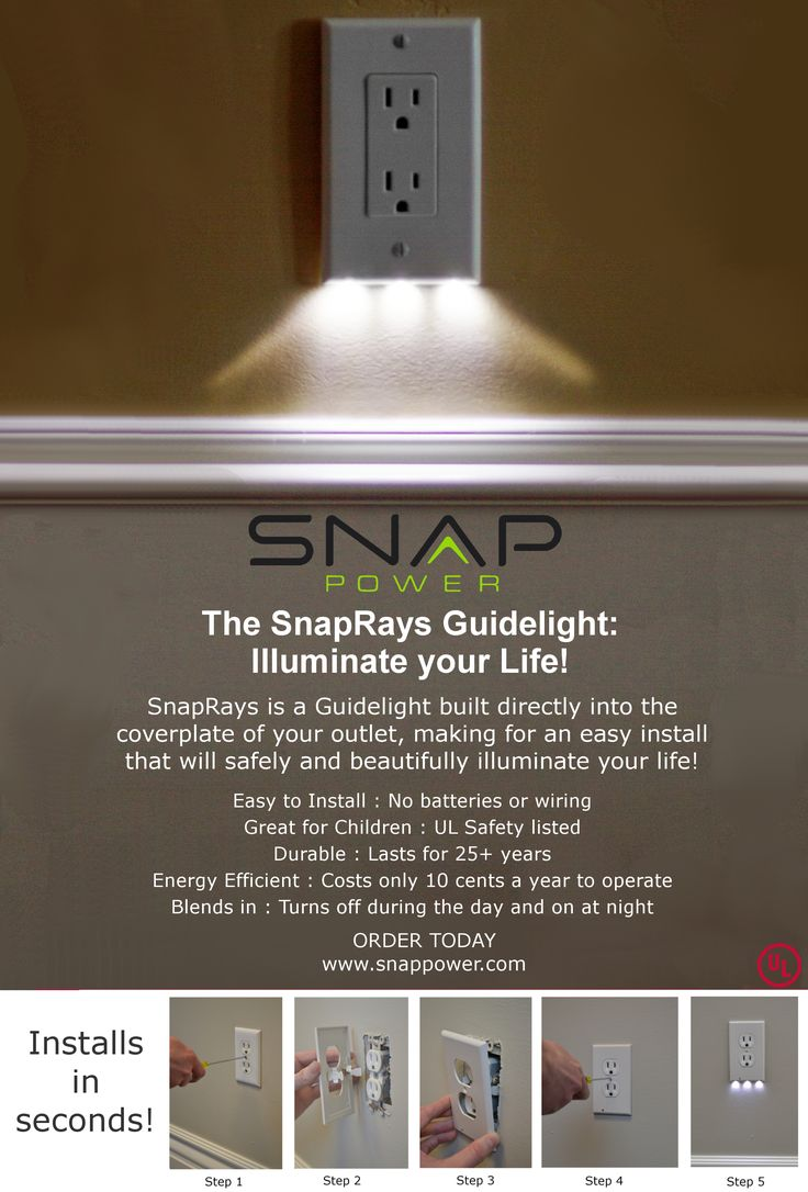 """SnapPower Guidelights: """"easy-to-install, sleek, and energy-efficient design safely transforms your outlet coverplate into a convenient night light. It requires no wires or batteries and leaves all outlets free for use!"""""""
