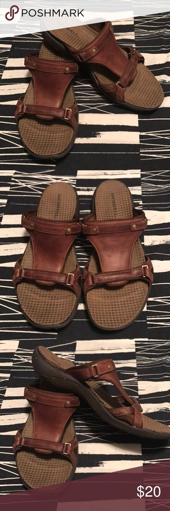 MERRELL SANDALS Gently wear MERRELL Sandals, brown leather, very comfortable, size 8 Merrell Shoes Sandals