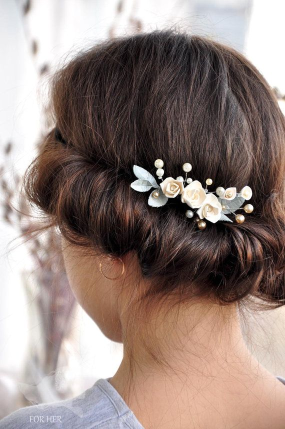 Bridal Hair comb pearls flower Bridal Pearl Comb Flower by FORvHER