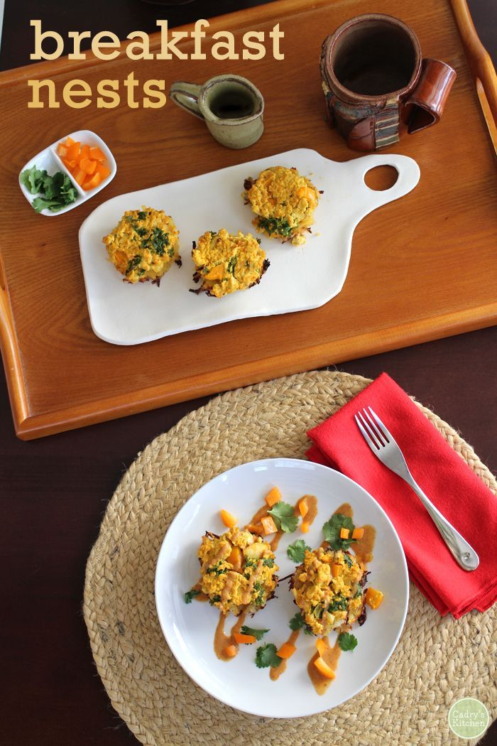 These Breakfast Nests Were Inspired By A Dish At A N D Cafe In Portland They Are Made With A Layer Of Hash Vegan Holiday Recipes Vegan Brunch Vegan Breakfast