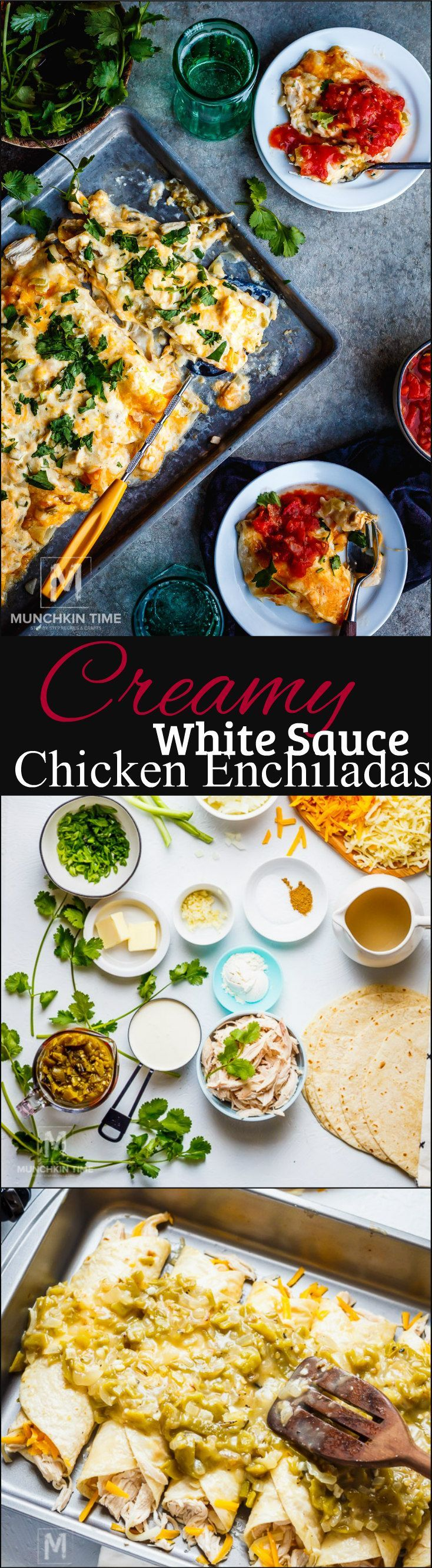 Satisfy YOUR cravings with this delicious Mexican Recipe called Creamy White Sauce Chicken Enchiladas.