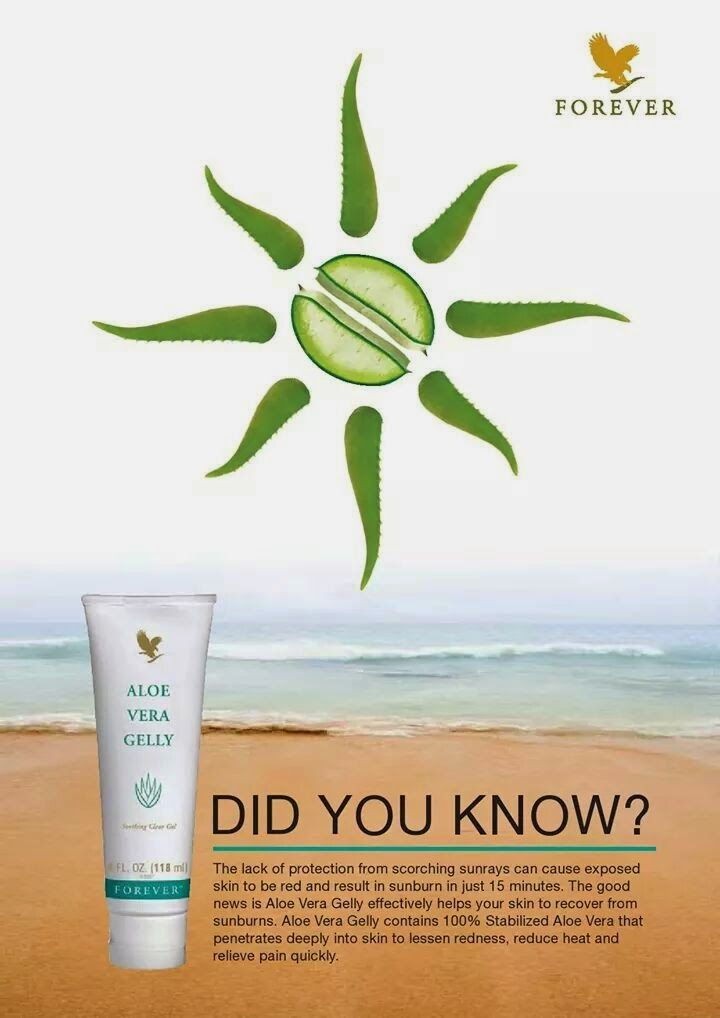 Aloe vera gelly not only soothes sun burn but also helps your skin recover!!