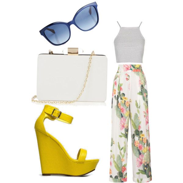 Floral trousers, striped crop, bold wedge, and simply accessories by aquene-diedricksen on Polyvore featuring polyvore, fashion, style, Topshop, Matthew Williamson, Breckelle's, Oasis and Fendi