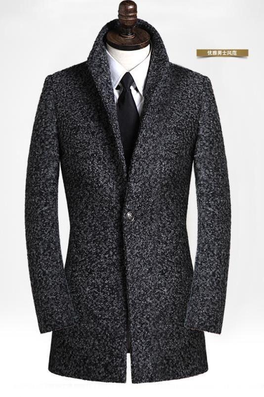 Dark gray men's winter fashion clothing woolen single breasted mens cashmere coat blazer slim suit jacket mens peacoat overcoat