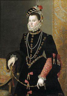 Élisabeth de France par Juan Pantoja de la Cruz, 1565, appellée aussi sabelle de Valois (1545-1568), est la fille de Henri II et de Catherine de Médicis et la 3° épouse de Philippe II d'Espagne. née le 13 avril 1545 à Fontainebleau, décès le 3 octobre 1568 à Madrid (à 23 ans). Sépulture: Escurial. Enfants: Isabelle Claire Eugénie d'Autriche, Catherine-Michelle d'Autriche.