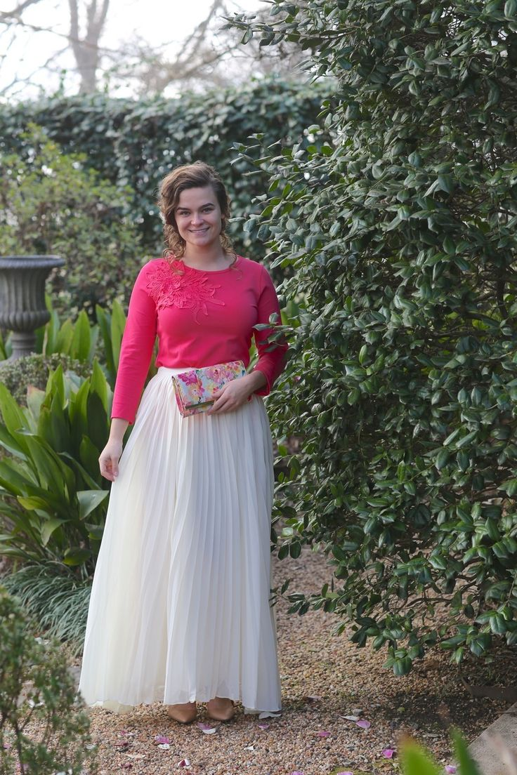 Modest Fashion | Modest Bridesmaid Dresses | Hot Pink Whimsical Belle Top with Pleated Chiffon Fluttering Fancy Skirt
