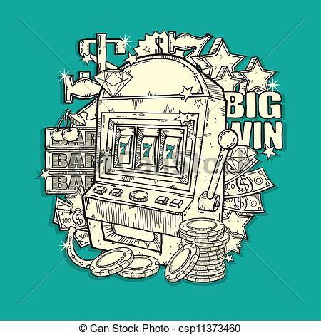 Vector - Vintage Slot Machine - stock illustration, royalty free illustrations, stock clip art icon, stock clipart icons, logo, line art, EPS picture, pictures, graphic, graphics, drawing, drawings, vector image, artwork, EPS vector art