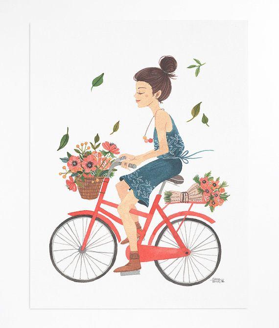 Girl on Bike - poster via Etsy