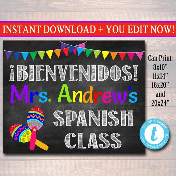 Printable Custom Teacher Door Sign for Spanish Classroom Decor! A cute way to add personality and bright, fun personalized decor to your Spanish classroom! An awesome way to welcome students to the new school year!
