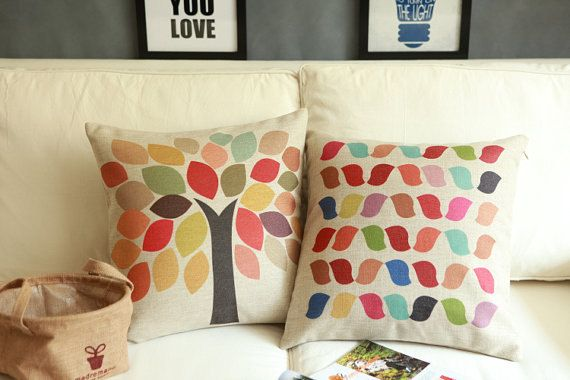 Pure and fresh and the contracted colorful tree cotton and linen sofa pillows pillow cover pillow sham