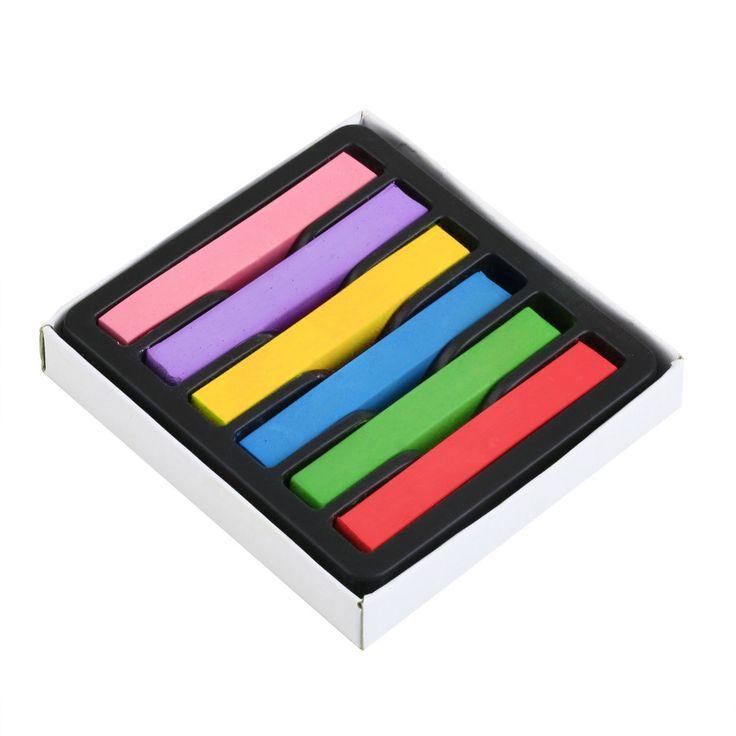 Tijdelijke 6 Kleuren/set kleurpotloden voor haar niet-giftig Haar kleur Krijt Dye Pastels Stok DIY styling tools grote Verkoop
