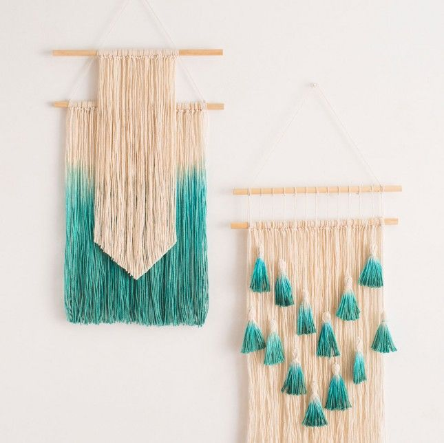 Dip dye string and tie onto a rod to DIY this wall art.