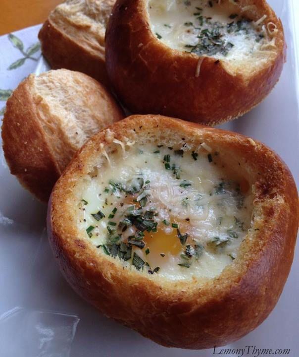 Cape Cod Sunday Brunch Part - 36: Baked Eggs In Bread Bowls {Sunday Brunch} Lemony Thyme