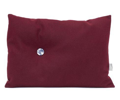 35 x 50 knoopkussen wolvilt bordeaux rood, Tas-ka