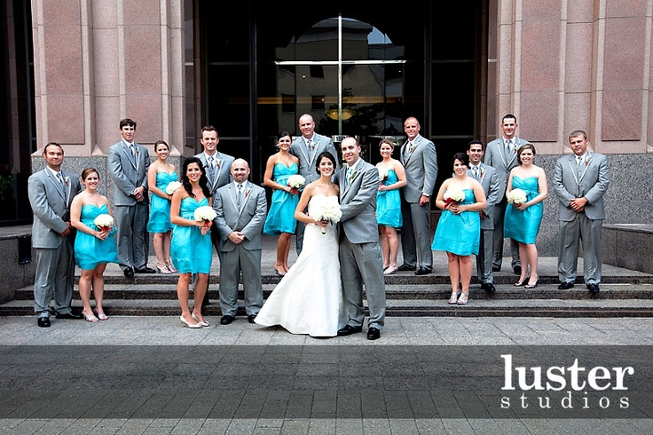 Teal Dresses And Gray Suits Weddings Pinterest Wedding