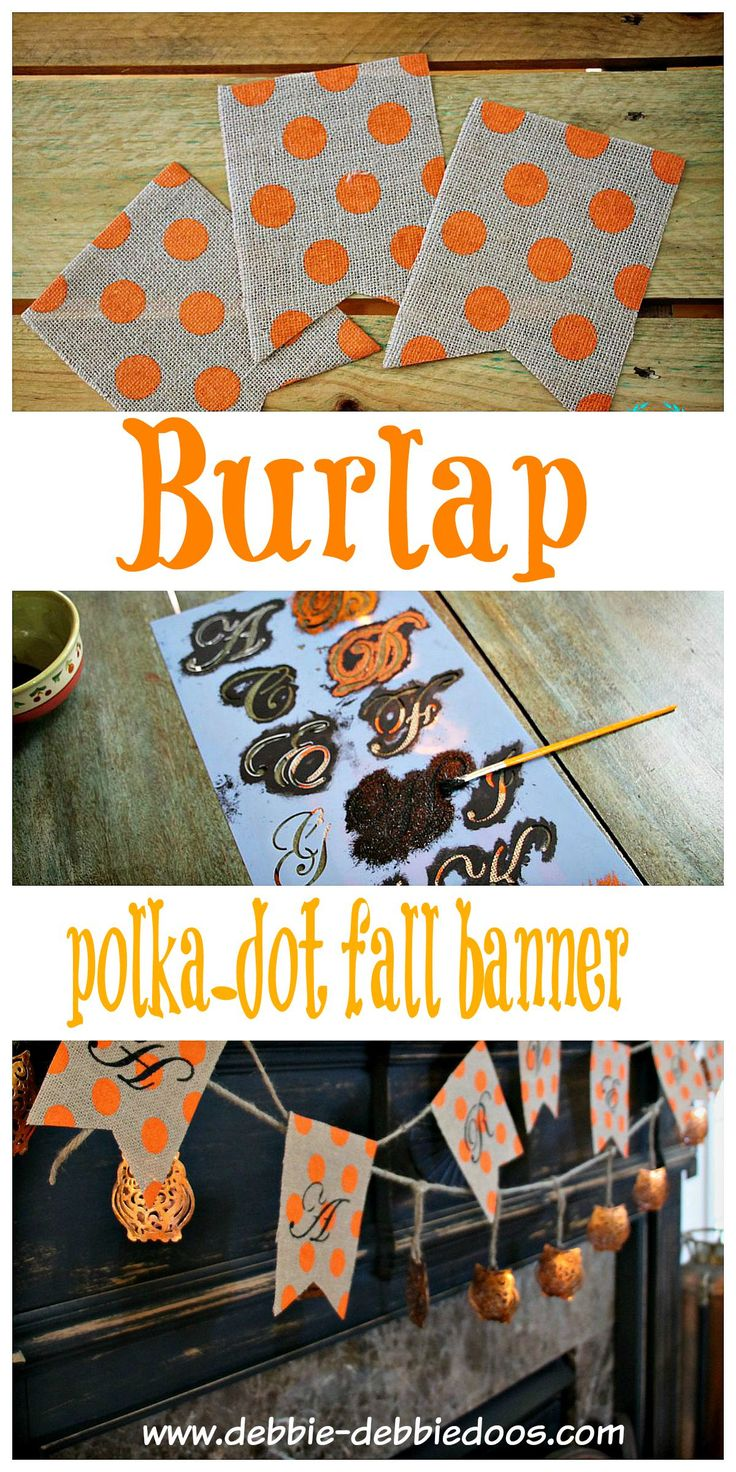How to make a burlap polka dot fall banner.  So easy and so very inexpensive. Gives a nice color pop and tad of whimsy for the season. @michaelsstores