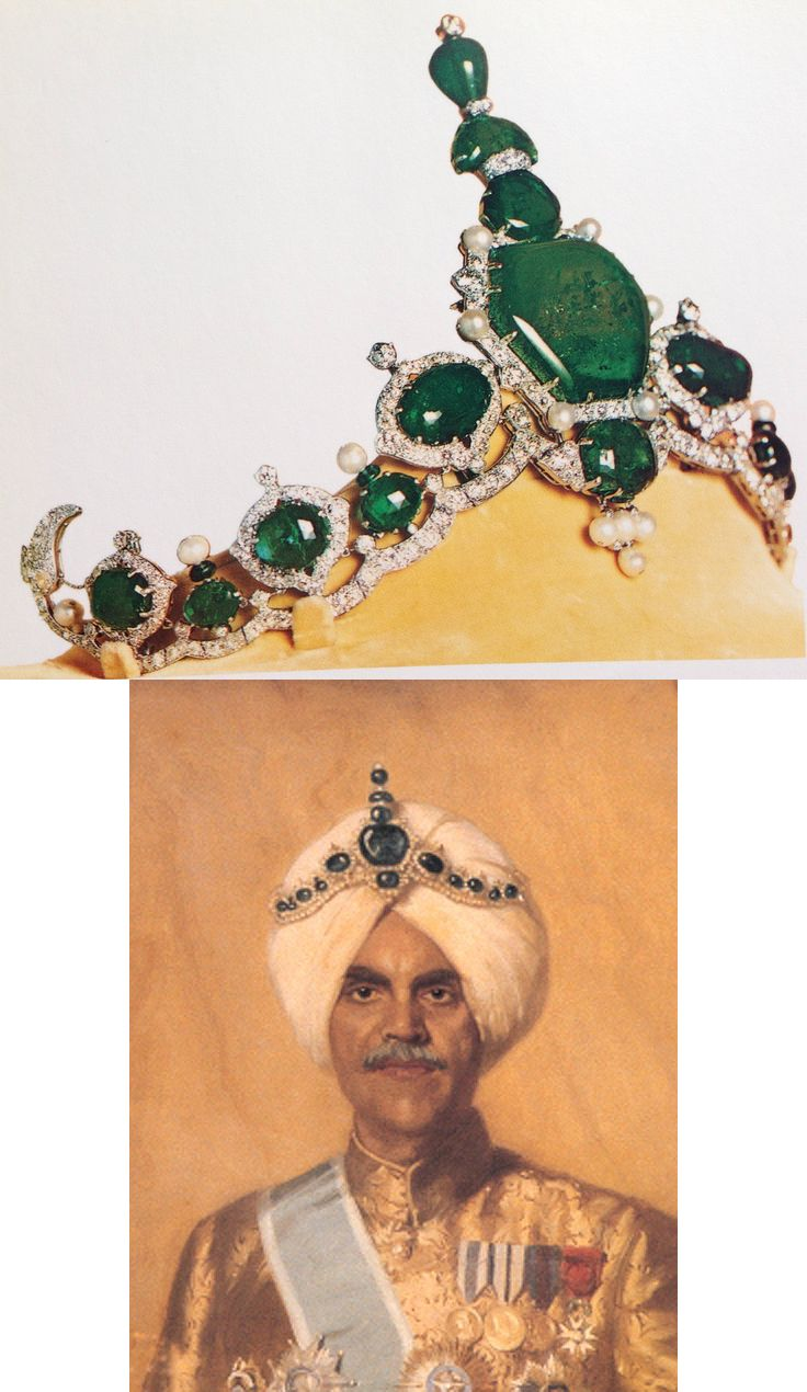In 1926, in readiness for his forthcoming golden jubilee, he asked Cartier to create for him a celebratory turban ornament. He provided many of the stones from his own treasury, including a spectacular hexagonal emerald of 177.40 carats. Cartier's designers employed fifteen large and unusual emeralds from Jagatjit's collection; the big hexagonal one was placed at the centre, surmounted by a smaller hexagon, a half-moon, and an inverted pear-shape at the very top.