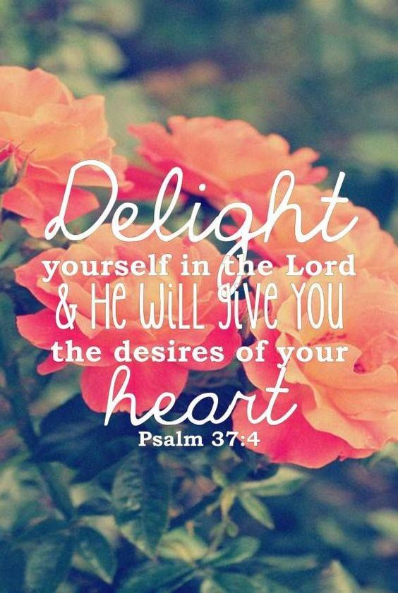 Psalm 37:4 (NAS) Delight yourself in the LORD; And He will give you the desires of your heart.   https://www.facebook.com/TrustintheLord356/photos/1385415251512570