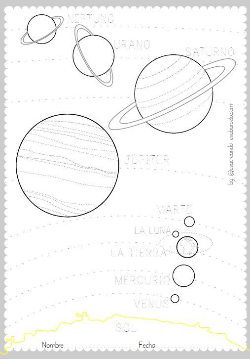 Los planetas y el sol - Actividad para imprimir gratis desde @evacreando