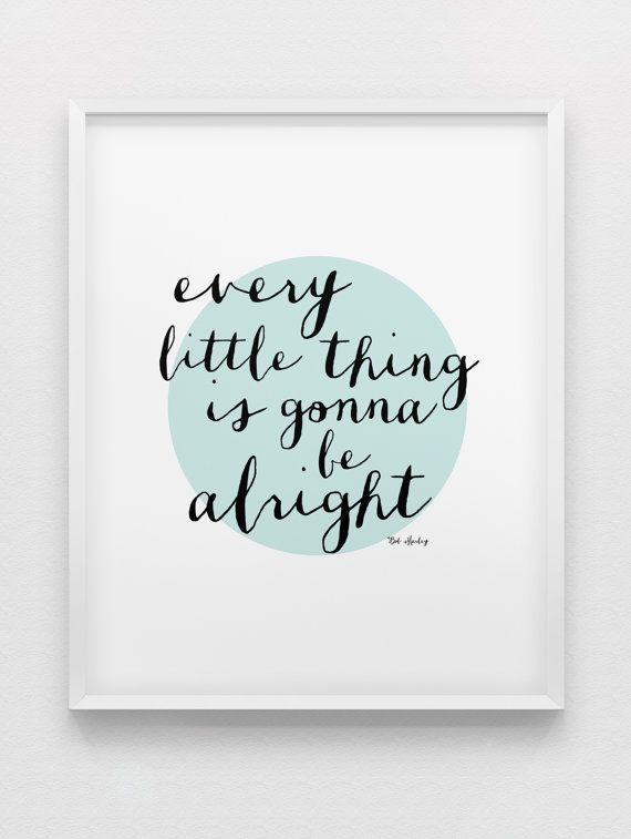 Bob Marley quote print // inspirational print // black white mint motivational print // modern home decor // office wall art