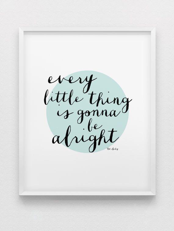 Bob Marley quote print // inspirational print // black white mint motivational print // modern home decor // office wall art