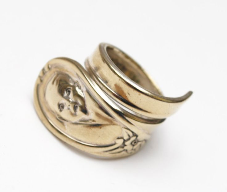 Spoon Ring - Silver plated - Gerber baby spoon -size 8 - Winthrop -cuff ring