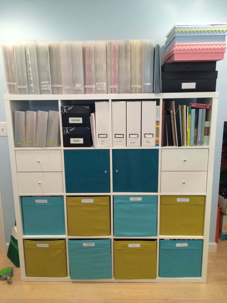 IKEA Kallax With Drona Boxes Also Installed Door And Drawers For Added Organization Decided Paper SorterLiving Room