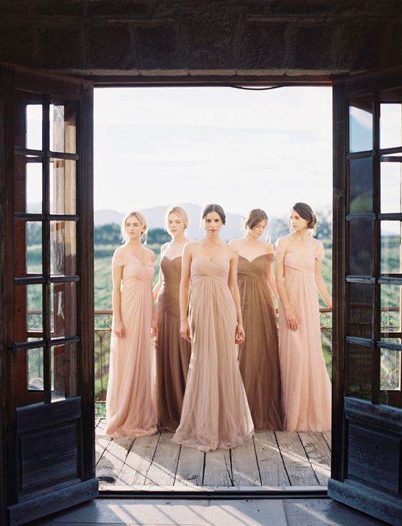 Jenny Yoo 2015 Collection:Earth tone bridesmaid dresses:                                                                                                                                                                                 More